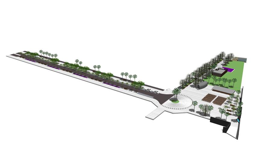 Vista aérea general de la propuesta para la mejora de la Calle Luis Díaz de Losada
