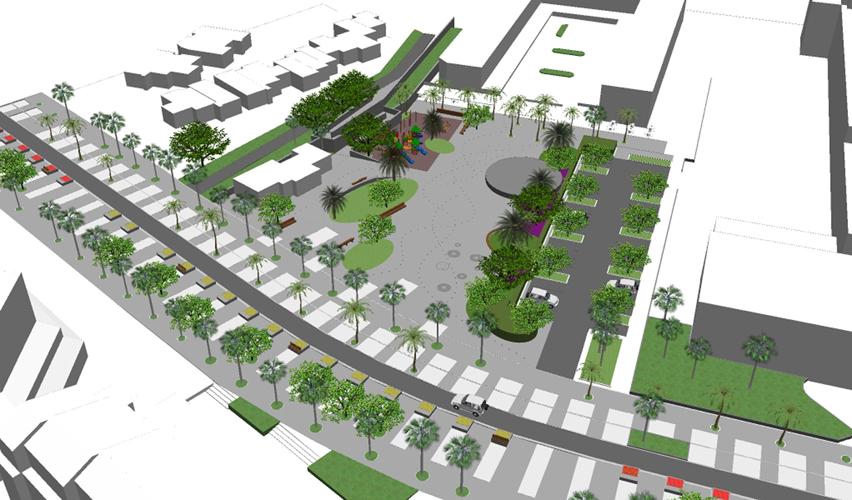Vista aérea desde el Suroeste de la propuesta para la mejora de la Plaza City Center