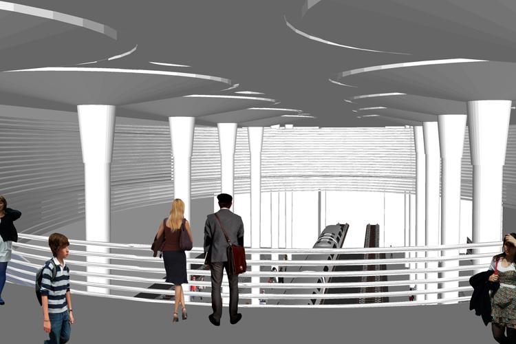 Vista desde la zona de acceso de la estación tren a los andenes para la propuesta del Intercambiador de Santa Cruz