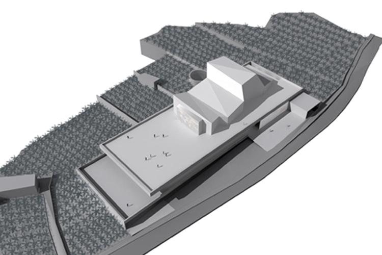 Vista aérea del edificio en su entorno para la propuesta del concurso del Auditorio Insular