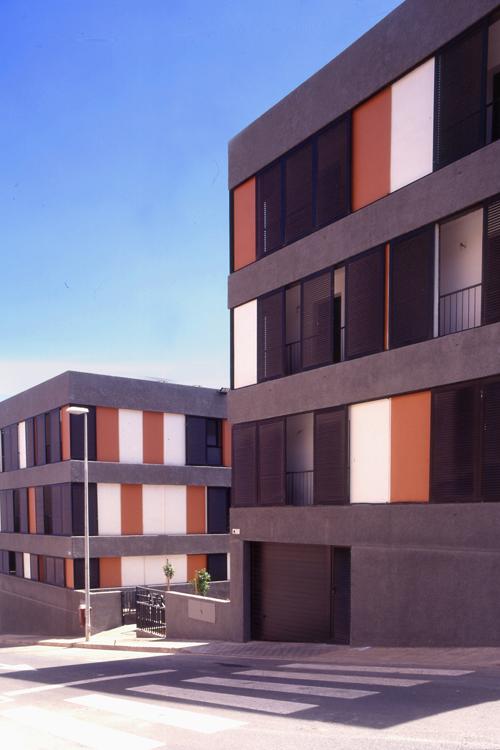 Detalle de la fachada lateral del edificio