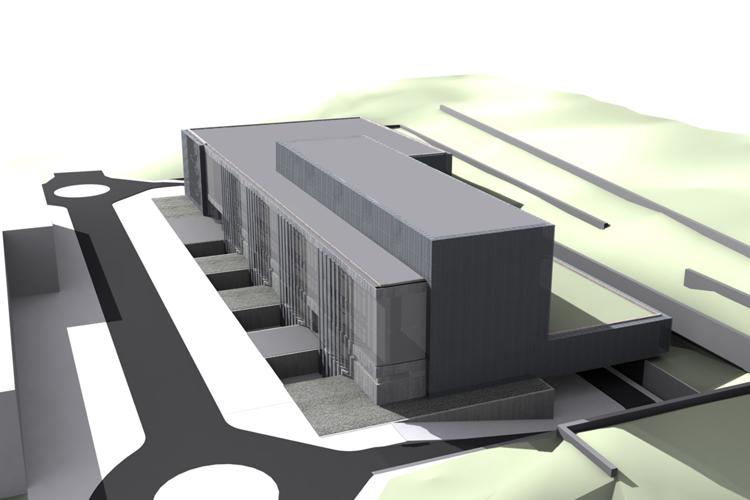 Vista de la fachada principal del Centro de Atención Especializada del Hospital del Norte con la ampliación