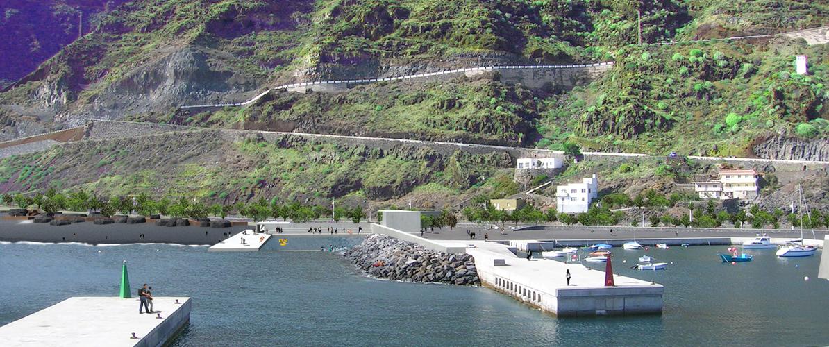 Vista general del puerto, el varadero y la playa integrado en el entorno