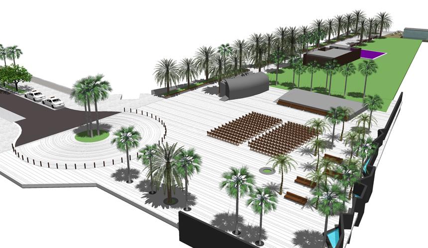 Vista aérea de la plaza y paseo de la propuesta para la mejora de la Calle Luis Díaz de Losada