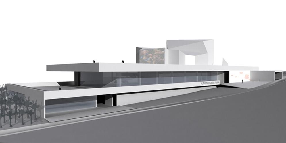 Vista de la fachada principal desde la calle para la propuesta del concurso del Auditorio Insular