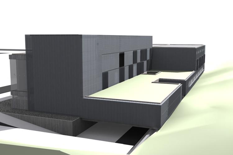 Vista de la fachada trasera del Centro de Atención Especializada del Hospital del Norte con la ampliación