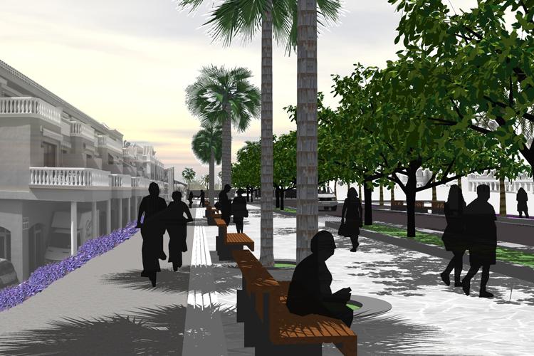 Vista del carril bici y zona de paseo y descanso junto a la calzada de la propuesta para la mejora de la Calle Luis Díaz de Losada