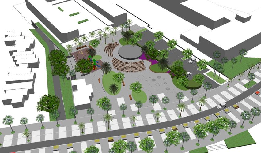 Vista aérea desde el Oeste de la propuesta para la mejora de la Plaza City Center