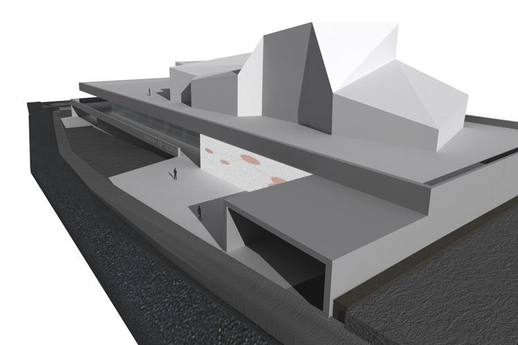 Vista general del edificio para la propuesta del concurso del Auditorio Insular