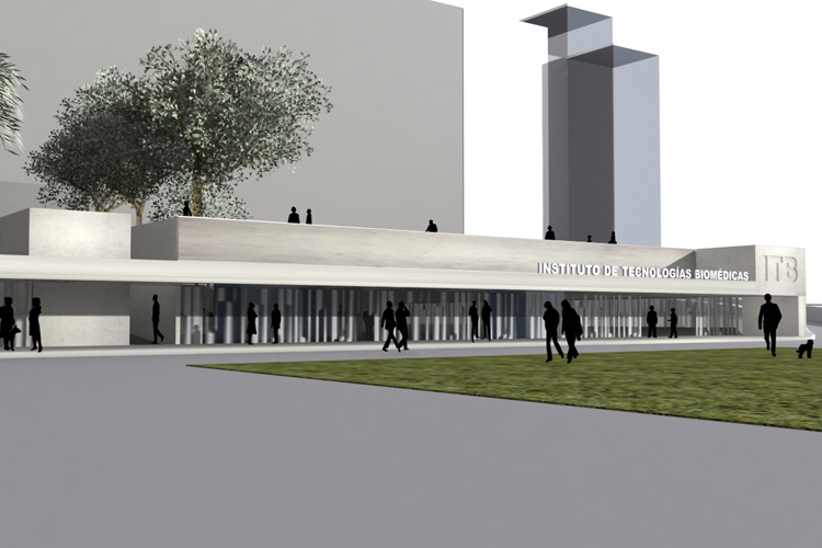 Vista de la fachada principal del Instituto de Tecnologías Biomédicas desde el parking