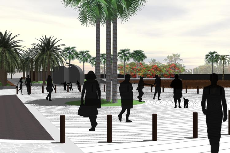Vista de la plaza y paseo de la propuesta para la mejora de la Calle Luis Díaz de Losada