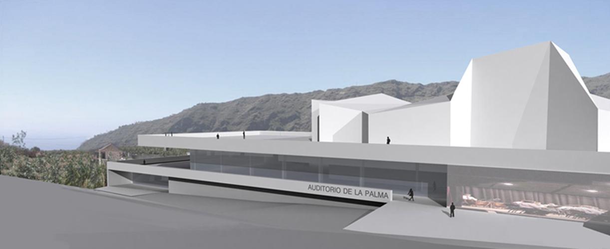 Visión del edificio en su entorno para la propuesta del concurso del Auditorio Insular
