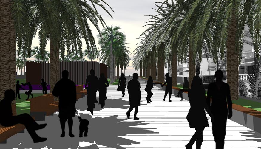 Vista del paseo de la propuesta para la mejora de la Calle Luis Díaz de Losada