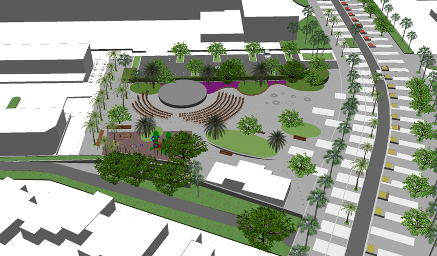 Vista aérea desde el Norte de la propuesta para la mejora de la Plaza City Center