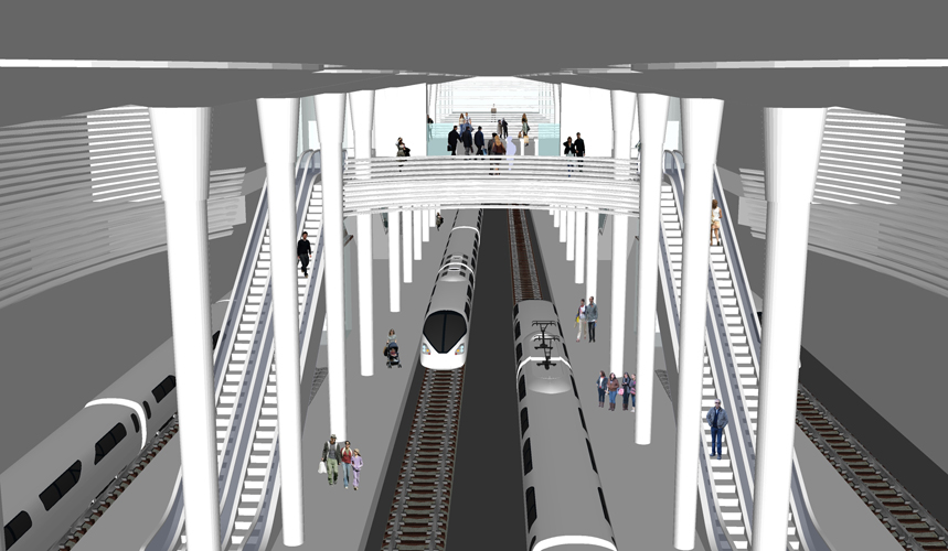 Vista de los andenes y vías para la propuesta del Intercambiador de Santa Cruz