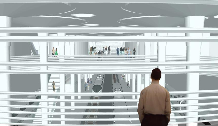 Vista desde las oficinas al interior de la estación para la propuesta del Intercambiador de Santa Cruz