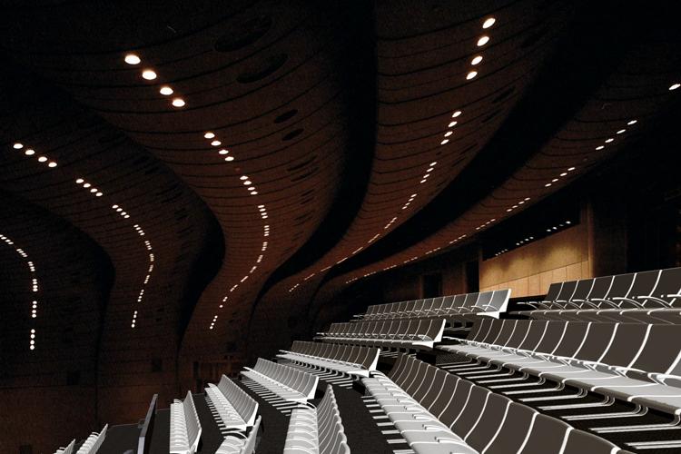 Vista del interior del auditorio para la propuesta del concurso del Auditorio Insular