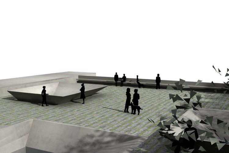 Vista de la plaza-cubierta del Instituto de Tecnologías Biomédicas