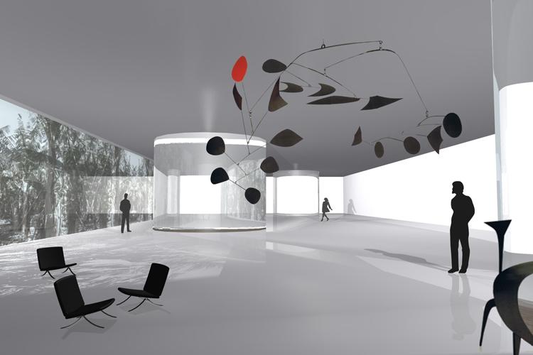 Vista del hall de acceso al auditorio para la propuesta del concurso del Auditorio Insular