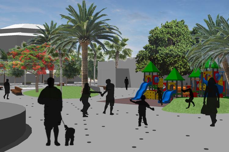 Vista desde el interior de la plaza hacia la zona de juegos de la propuesta para la mejora de la Plaza City Center