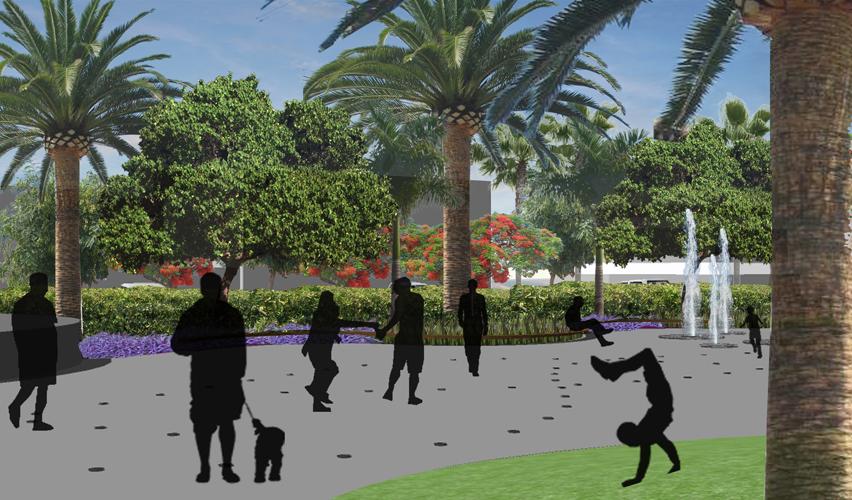 Vista desde el interior de la plaza hacia la zona de descanso y fuentes de la propuesta para la mejora de la Plaza City Center