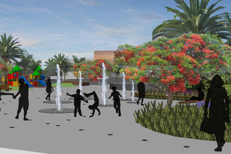 Vista del interior de la plaza por la zona de las fuentes de la propuesta para la mejora de la Plaza City Center