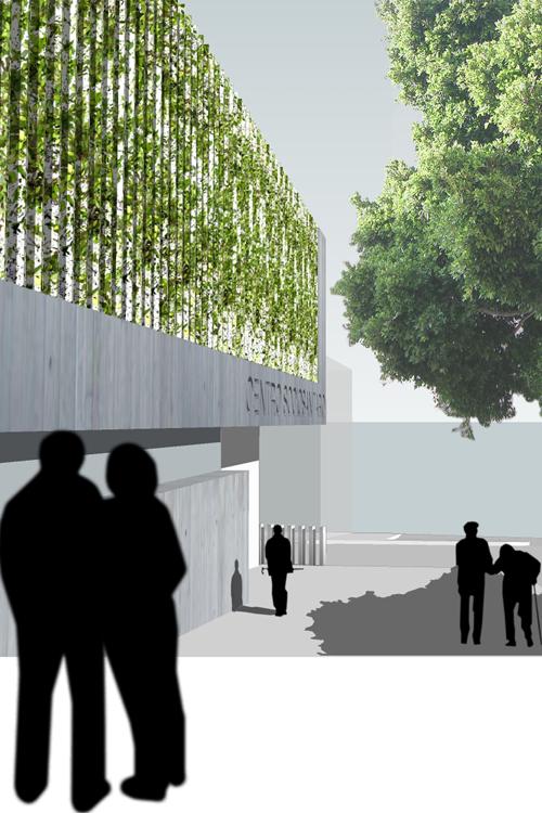 Detalle de la fachada principal de la propuesta para el concurso del Centro de Atención Socio Sanitaria para personas mayores