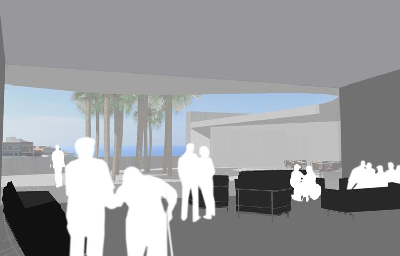 Vistas desde el interior del edificio propuesto para el concurso del Centro de Atención Socio Sanitaria para personas mayores