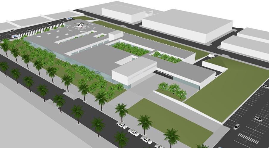Vista aérea desde el Noroeste donde se sitúa el acceso principal de la propuesta para el concurso del Centro hospitalario de Palma del Río