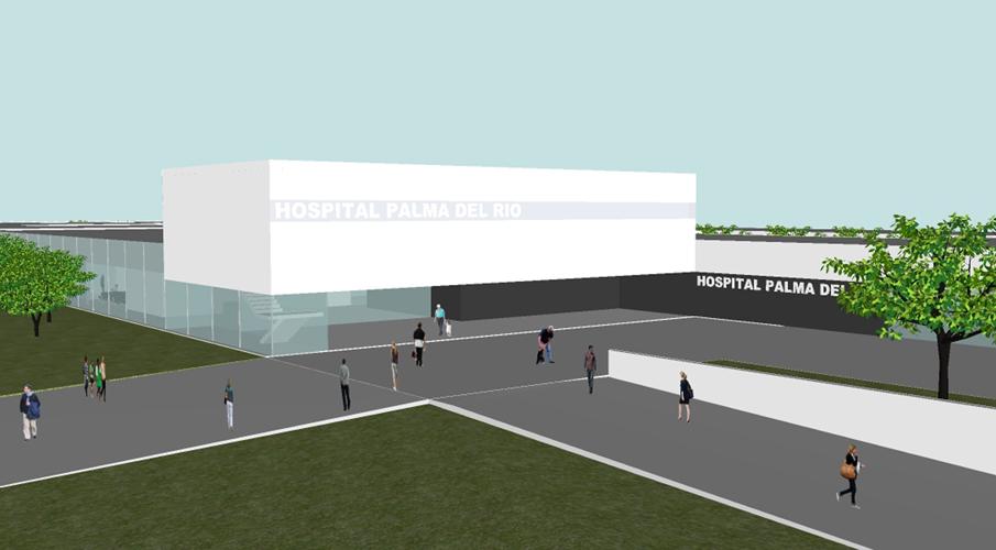 Vista de la entrada principal al edificio propuesto para el concurso del Centro hospitalario de Palma del Río