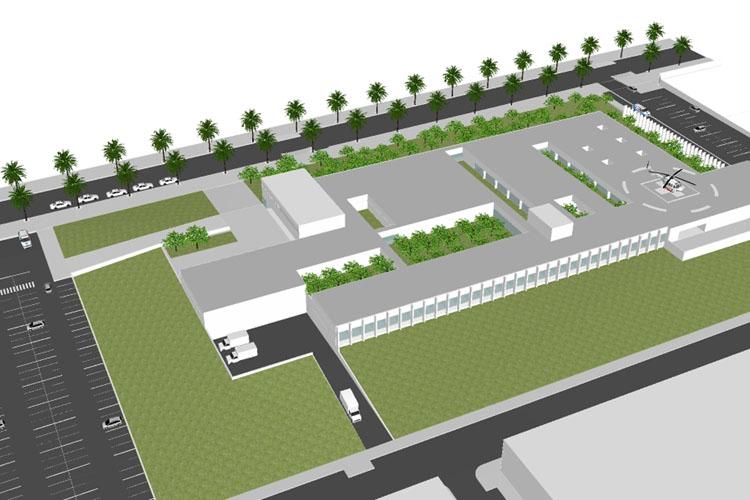 Vista aérea desde el Suroeste donde se sitúan las consultas de la propuesta para el concurso del Centro hospitalario de Palma del Río