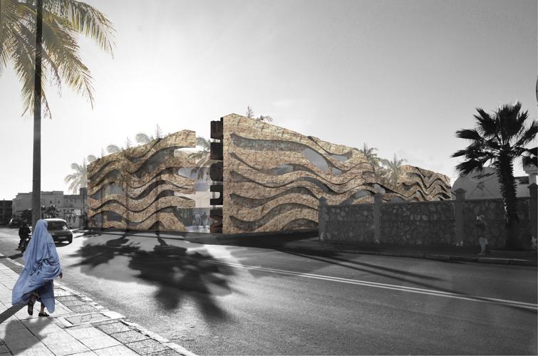 Vista exterior desde la avenida donde se puede ver el detalle de las ondas en las fachadas principales del Museo de Dakhla